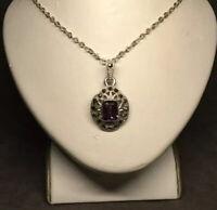 """VTG Retro 925 Sterling Silver Purple Rhinestone & Marcasite Pendant Necklace 19"""""""