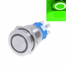 12v 19mm Metal Push Button Switch Latching On/off Green LED Waterproof