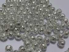 40-80 Silver Plated Metal Filigree Round Ball Loose Spacer Beads 8mm 10mm 12mm