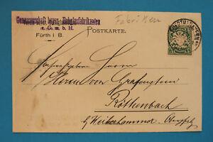 Geschäftspost AK Fürth Mfr 1909 Genossenschaft bayer. Rohglasfabrikanten GmbH +