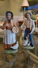 Ceramic collecibles Homco Figurines mama w/Chicken, Man W/Ducks 1426 Excellent!