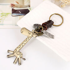 Vintage Giraffe Keychain Cow Leather Handbag Tote Purse Charm Key Chain Welcome