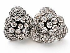 Edidi Earrings with Clear Swarovski Crystals Clip Ons High End Couture Jewelry