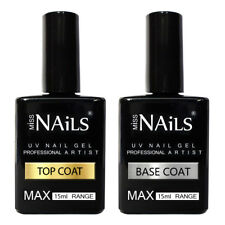 Miss Nails® LARGE 15ml TOP and BASE COAT UV LED Nail Gel Soak Off Colour Polish
