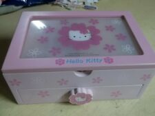 Sanrio Hello Kitty Wood Jewelry Box Wardrobe one Drawer Pink Purple 2002