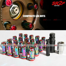 M12 X 1.50 mm Neo Chrome Red Composite Close End Heavy Duty Wheel Lug Nuts 20pc