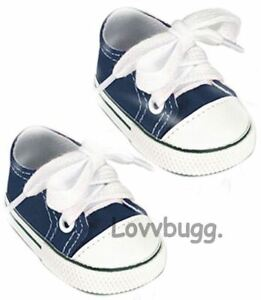 Navy Blue Sneakers for American Girl Boy 18 inch Baby Doll Shoes GO LOVVBUGG! 🐞