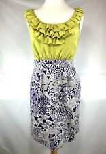 Anthropologie Maeve Sz 2 Seaside Field Silk Green & Purple Dress