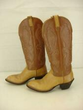 Vtg Womens sz 6.5 C W Wide Hondo Tan Brown Embroidered Tall Cowboy Boots Western