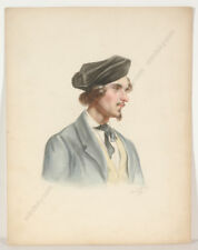 """Friedrich Wolf """"Portrait of a young man"""", watercolor, 1850"""