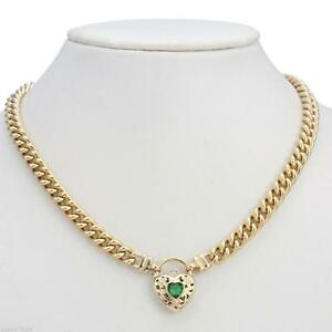 18K Yellow Gold GL Womens Solid Med Euro Curb Necklace & Emerald Filigree Heart
