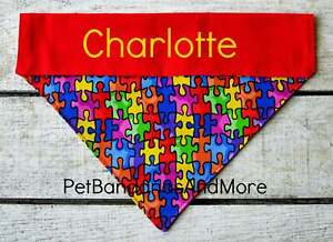 Personalized Dog Bandana Autism Awareness Puzzle Asbergers Over The Collar XS-XL