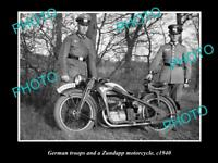 OLD LARGE HISTORICAL MOTORCYCLE PHOTO OF ZUNDAPP MOTORCYCLE GERMAN SOLIDERS WWII