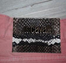 ROBERTO CAVALLI, Luxus Skinny Jeans im Used Look mit Kroko Logoemblem, Gr. 36