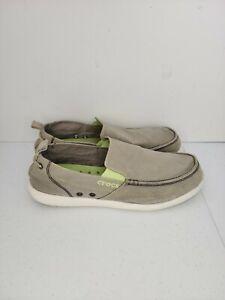 Crocs Walu 11270 Canvas Slip-on Men's Comfort Loafers Size 13 Shoes Tan