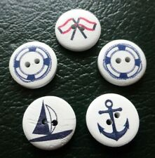 5 x Large 2cm Anchor / Navy Buttons Ideal for Sewing, Crochet, Knitting Crafts
