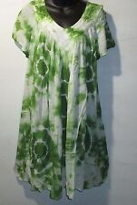 Dress Fits L XL 1X White Green Tie Dye A Shaped V Neck Flutter Sleeves NWT 02S