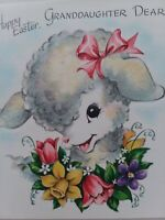 1950s Vtg Fuzzy LAMB Happy EASTER GRANDDAUGHTER Hall Brothers GREETING CARD