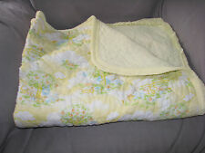 VINTAGE BABY BLANKET YELLOW CLOUD APPLE TREE RUFFLE BEAR CAT BUNNY MOUSE BASKET