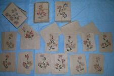 Flower pressed cards with envelopes, rustic design, papier-mache - type paper