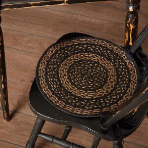 "VHC Brands Farmhouse Jute Chair Pads Set of 6 w/ Ties Black, Tan 15"" Round"
