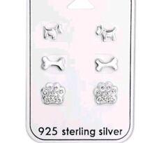 925 Sterling Silver Dog Paw Print Bone Scottie Dog Stud Earrings Set 3 x pairs