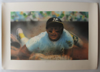 Rickey Henderson signed autographed poster! RARE! Guaranteed Authentic!