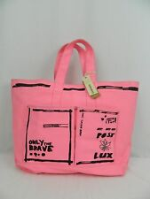 NEW Diesel Hot Pink Brave Post Lux Shopper Tote Bag Purse Soft Sided Canvas