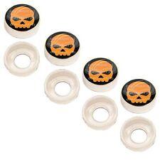 4 Chrome Custom License Plate Frame Screw Snap Caps Covers Orange Skull B