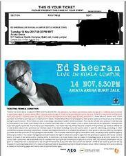 Ed Sheeran Concert Malaysia Axiata Arena Kuala Lumpur Tickets