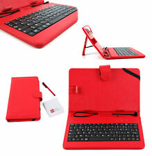 Red Faux Leather AZERTY French Keyboard Case with Kick Stand for LG G Pad II 8.0