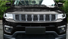 ABS Chrome Black Front Grill Grille Cover Trim for 2017-2018 Jeep Compass 7PCS