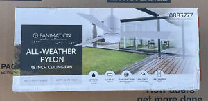 """FANIMATION All Weather Indoor/Outdoor Pylon White, 48"""" Ceiling Fan 0883777 NEW"""