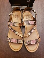 Naturalizer Women's Shoes Sally Leather Sandal, Mauve Snake Leather, Size 8.5M