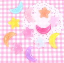 6 x Jelly Look Moon & Stars Flatback Cabochon Embellishments Kawaii DIY Crafts