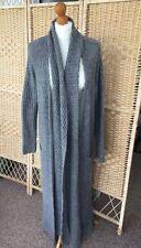 M&S Limited Edition Long Maxi Cardigan Coat BuiltIn Scarf Grey Wool Mohair 12