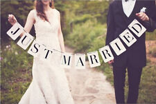 JUST MARRIED Vintage Wedding  Banner Party Decorations Garland Photo Props USA