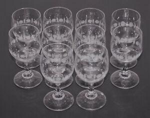 10 Weingläser Stiel Glas umlaufendes Dekor 0,1l 100 ml 11 cm ∅ 5,5 cm 70er/80er