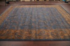 Thick Plush Paisley BLUE Nepalese Tibetan Oriental Area Rug Hand-Knotted 9x12