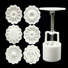 6pcs/set 3D Silicone Rose Flower Moon Cake Decor Mould Round Mold Mooncake N4G8