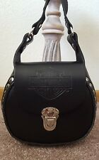 Harley Davidson leather bucket purse crossbody, black