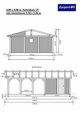 Carport 6,00 x 9,00 m Satteldach 15° Fichte KVH  Doppelcarport incl. Abstellraum