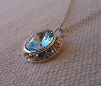 Swarovski Elements Crystal in Aqua with Clear Rhinestones  Pendant Necklace
