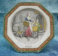 Antique Adams Hexagon Plate Cries of London Two Bunches a Penny Primroses