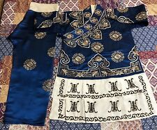 487289d5d3 Vintage Chinese Blue Silk Floral Hand Embroidered Pajamas Pants Robe