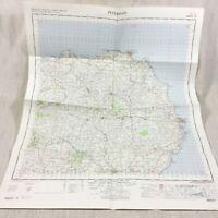 1961 Vintage Militare Mappa Di Peterhead Scozia Aberdeenshire Fraserburgh Maud