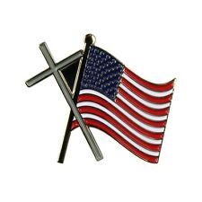 Religious God Jesus Country Patriotic Christian Cross Us Flag Lapel Pin