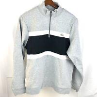 Lacoste Men's Soft Fleece Quarter Zip Pullover Sweater Gray XLarge NWT $110 MRSP