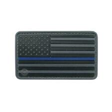New 5ive Star PVC Hook & Loop Morale Patch US Flag Black Police Blue Line 6782