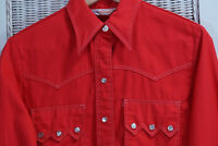 LADY WRANGLER Vintage Red Pearl Snap Shirt S-M 40″ Red Western Rockabilly Blouse